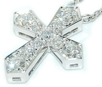 ダイヤモンド-0.50ct クロス/十字架 デザイン Pt ペンダントネックレス 【K18各色対応】 【受注発注】【店頭受取対応商品】