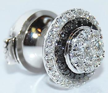 ブラックダイヤモンド&ダイヤモンド-0.45ct 円形デザイン K18WG ラペルピン/ピンバッジ 【受注発注】