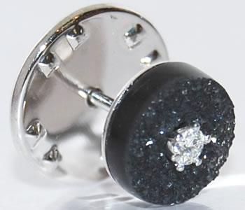 K18WG オニキス結晶&ダイヤモンド 円形デザイン ラペルピン/ピンバッジ 【受注発注】