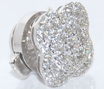 ダイヤモンド-0.53ct フラワー/花デザイン K18WG ピンバッジ/ラペルピン 【受注発注】