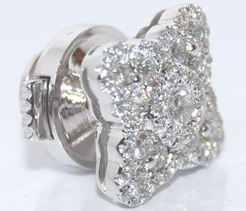 ダイヤモンド-0.58ct スター/星モチーフ K18WG ピンバッジ/ラペルピン 【受注発注】