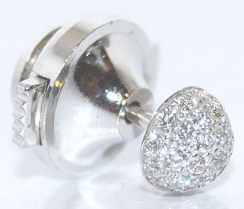 ダイヤモンド-0.21ct ボールパヴェデザイン K18WG ラペルピン/ピンバッジ 【受注発注】