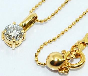 4本爪 ダイヤモンド-0.350ct シンプル K18 ペンダントネックレス 【店頭受取対応商品】
