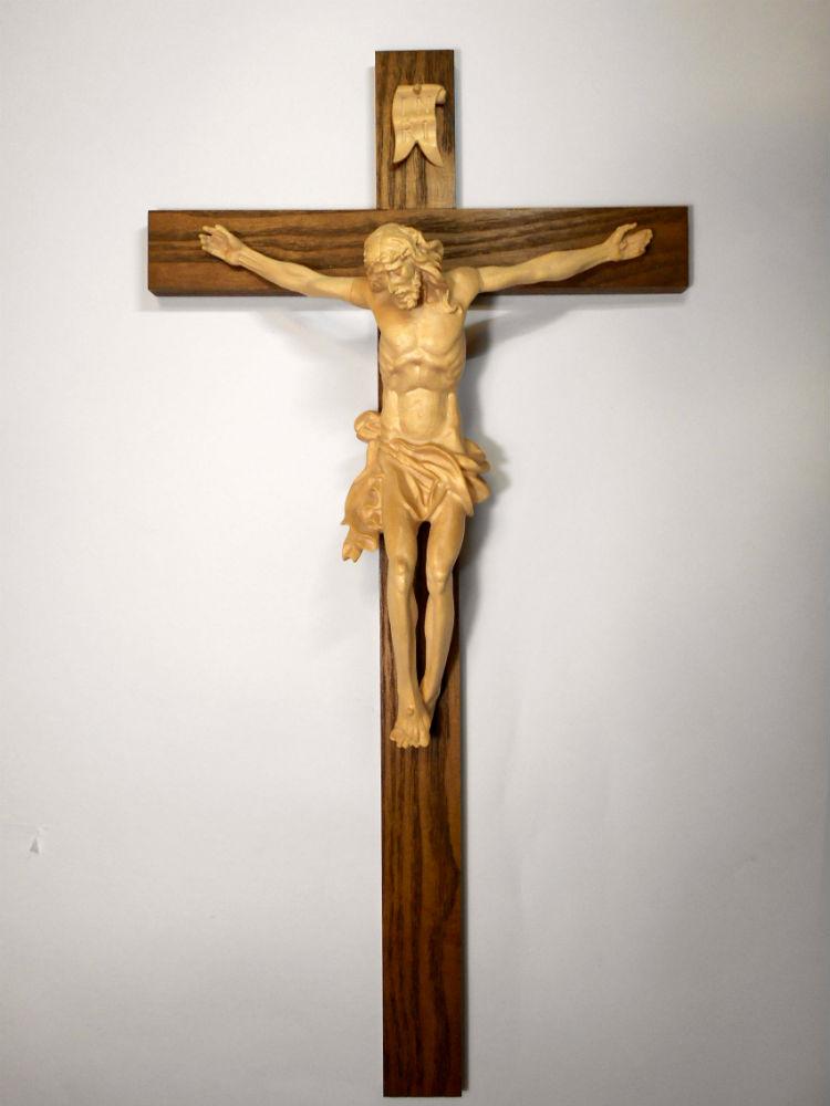《レーピ》欧州教会使用創業100年木彫りブランド磔刑像・十字架(クルチフィクス)「ボヘミア」タイプ ニス仕上げキリスト像高さ:20cm十字架高さ:43cm 【イタリア】