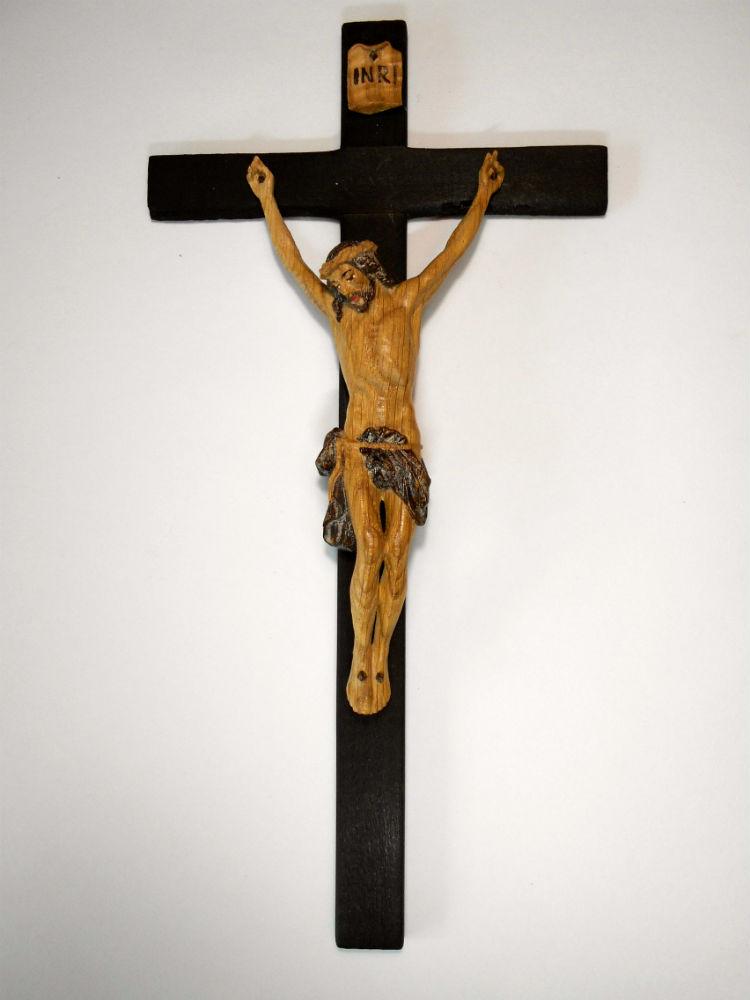 《レーピ》欧州教会使用創業100年木彫りブランド磔刑像・十字架(クルチフィクス)「パイムポント」ブラウン濃淡2色(ZE)(手彩色)キリスト像高さ:12.5cm十字架高さ:27cm 【イタリア】