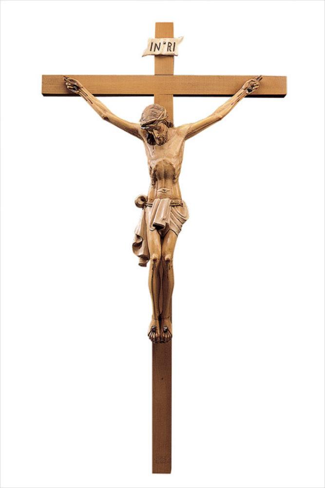 《レーピ》欧州教会使用創業100年木彫りブランド磔刑像・十字架(クルチフィクス)「チロリアン」タイプ Cカラー(手彩色)キリスト像高さ:12cm十字架高さ:26cm 【イタリア】