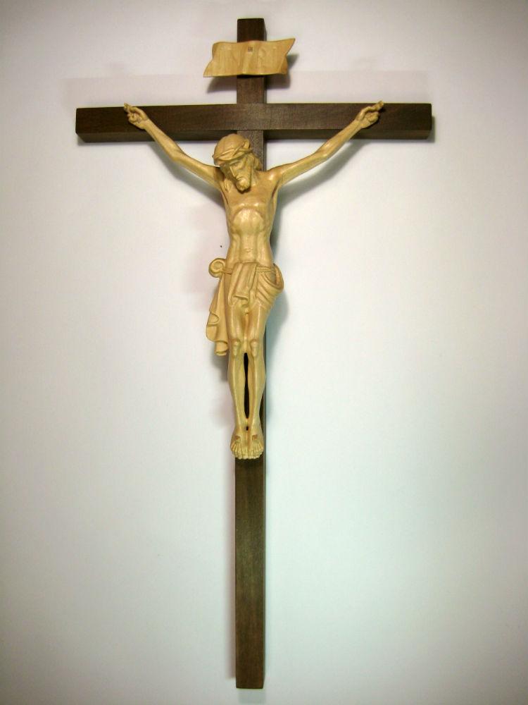 《レーピ》欧州教会使用創業100年木彫りブランド磔刑像・十字架(クルチフィクス)「チロリアン」タイプ Cニス仕上げキリスト像高さ:20cm十字架高さ:43cm 【イタリア】