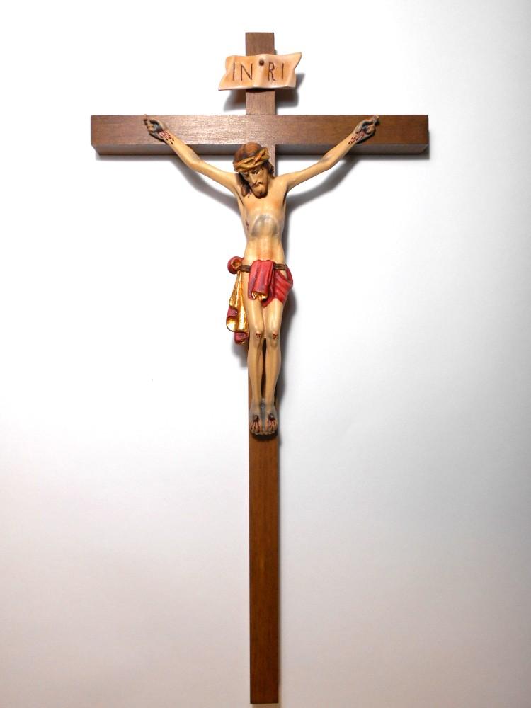 木彫りの磔刑像(クルチフィクス)十字架「チロリアン」。自然木の彫出しで精巧。 《レーピ》欧州教会使用創業100年木彫りブランド磔刑像・十字架(クルチフィクス)「チロリアン」タイプ Cカラー(手彩色)腰布:赤キリスト像高さ:12cm十字架高さ:26cm 【イタリア】