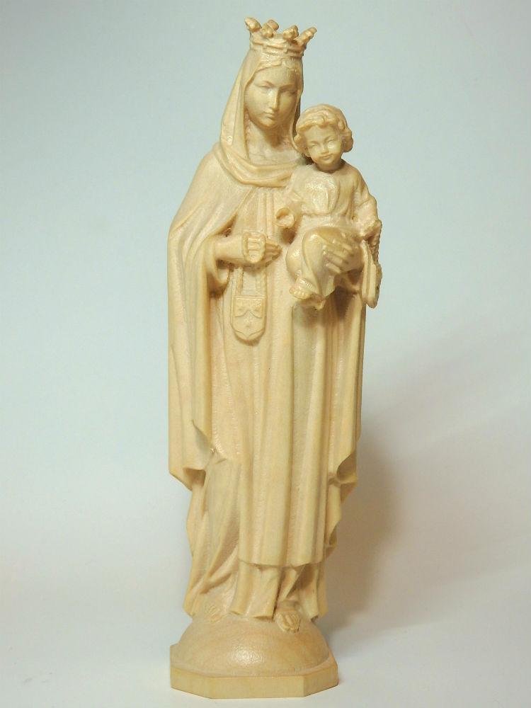 《レーピ》欧州教会使用創業100年 木彫りブランド木彫り 聖母マリア像「 カルメル山 」聖母子像 ニス仕上げ 高さ 15cm 保証書付【イタリア】