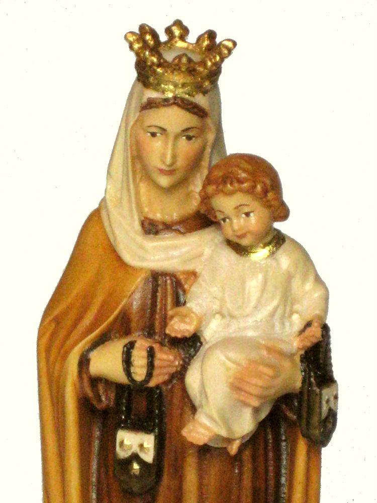 《レーピ》欧州教会使用創業100年 木彫りブランド木彫り 聖母マリア像「 カルメル山 」聖母子像 カラー仕上げ(手彩色)高さ 20cm 保証書付【イタリア】