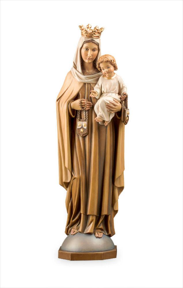 《レーピ》欧州教会使用創業100年 木彫りブランド木彫り 聖母マリア像「 カルメル山 」聖母子像 カラー仕上げ(手彩色)高さ 60 cm 保証書付【イタリア】