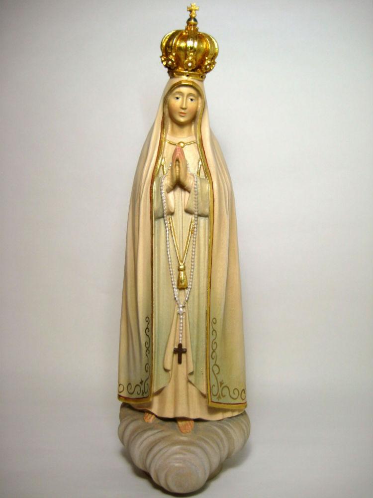 《レーピ》欧州教会使用創業100年 木彫りブランド木彫り 聖母マリア像「 ファティマ 」カラー(手彩色)高さ 30cm 保証書付【イタリア】