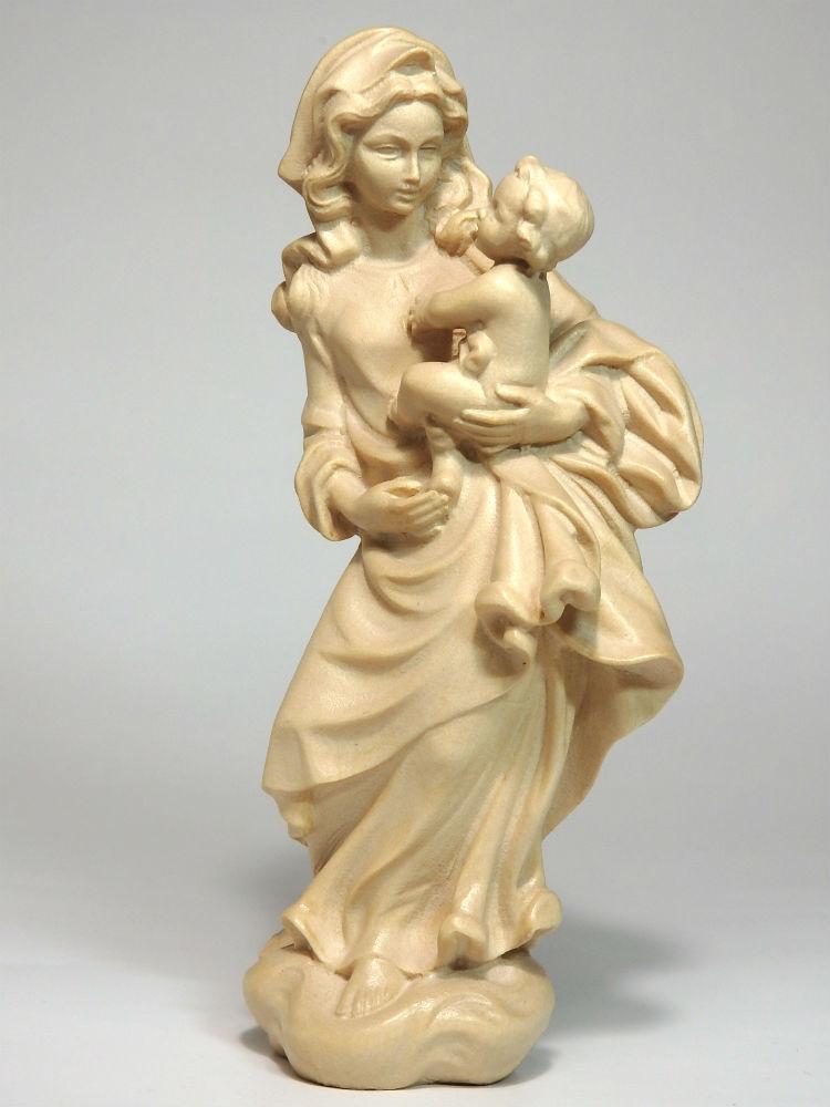 《レーピ》欧州教会使用創業100年 木彫りブランド木彫り 聖母マリア像「フローレンス」聖母子像 ニス仕上げ 高さ 15cm 保証書付【イタリア】