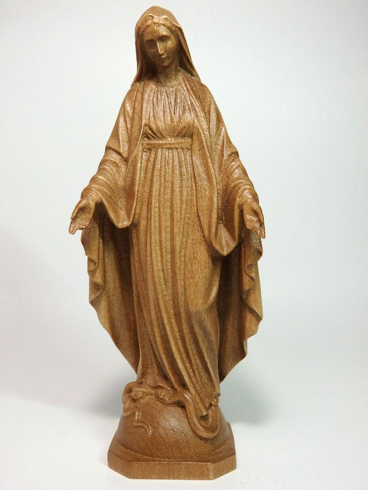 《レーピ》欧州教会使用創業100年木彫りブランド木彫り 聖母マリア像「 無原罪 」ダークブラウン高さ 12cm 保証書付【イタリア】