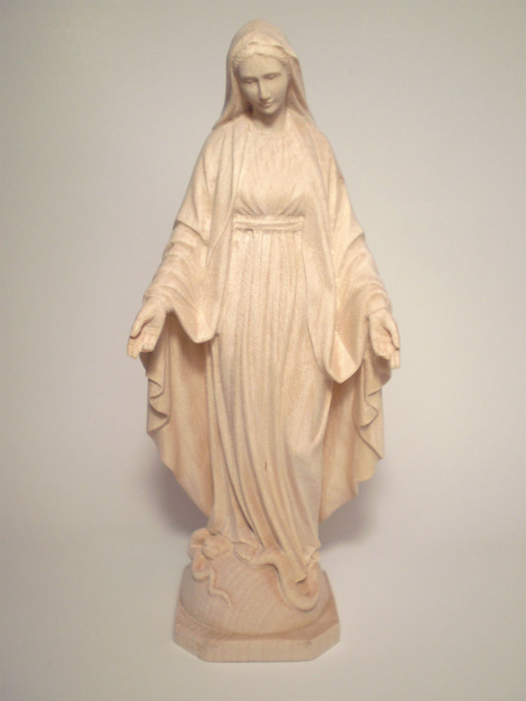 《レーピ》欧州教会使用創業100年木彫りブランド木彫り 聖母マリア像「 無原罪 」白木仕上げ 高さ 15cm保証書付【イタリア】