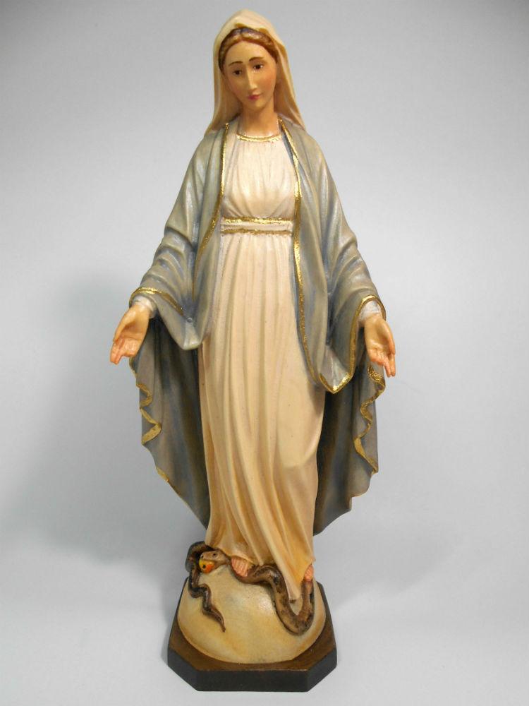 《レーピ》欧州教会使用創業100年 木彫りブランド木彫り 聖母マリア像「 無原罪 」カラー仕上げ(手彩色)高さ 20cm 保証書付【イタリア】