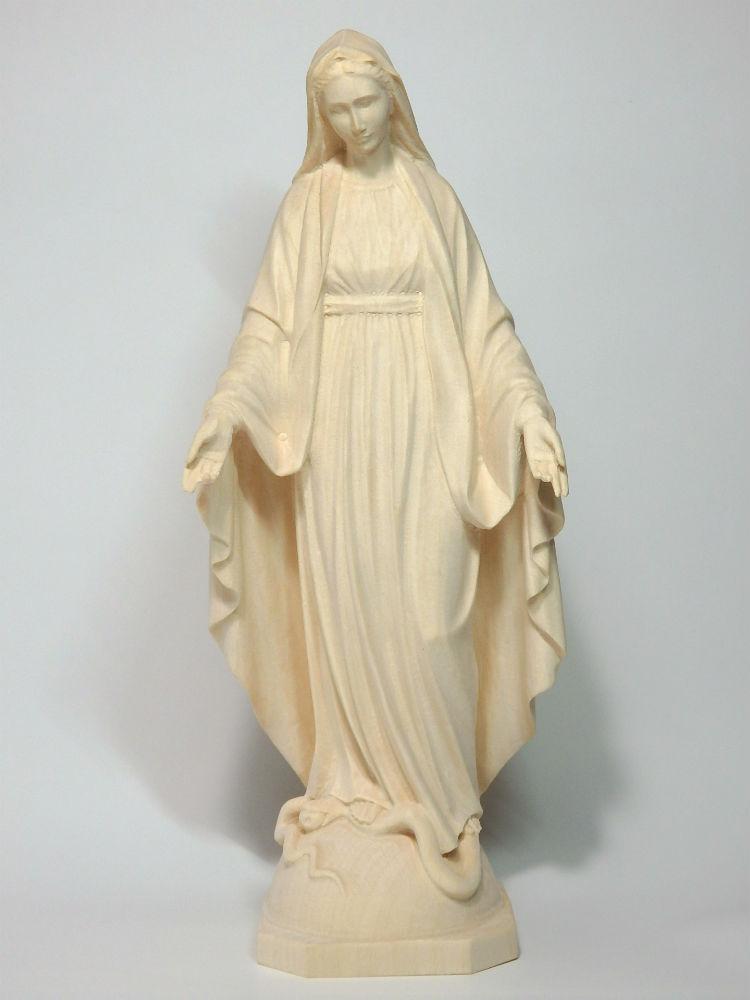 《レーピ》欧州教会使用創業100年木彫りブランド木彫り 聖母マリア像「 無原罪 」白木仕上げ 高さ 20cm保証書付【イタリア】