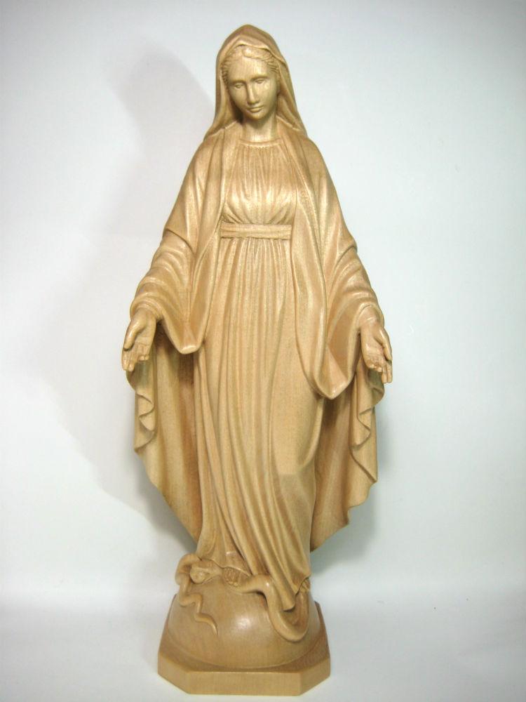 《レーピ》欧州教会使用創業100年木彫りブランド木彫り 聖母マリア像「 無原罪 」ニス仕上げ 高さ 30cm保証書付【イタリア】