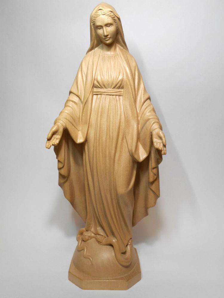 《レーピ》欧州教会使用創業100年木彫りブランド木彫り 聖母マリア像「 無原罪 」ニス仕上げ 高さ 36cm保証書付【イタリア】