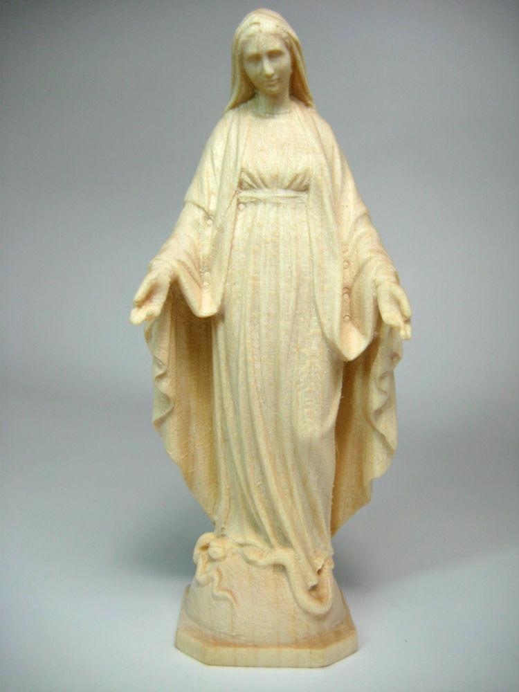 木彫り聖母マリア像 無原罪 在庫あり 自然木の彫出しの白木仕上げで精巧 《レーピ》欧州教会使用創業100年木彫りブランド木彫り 聖母マリア像 白木仕上げ高さ 品質検査済 9cm 保証書付 イタリア