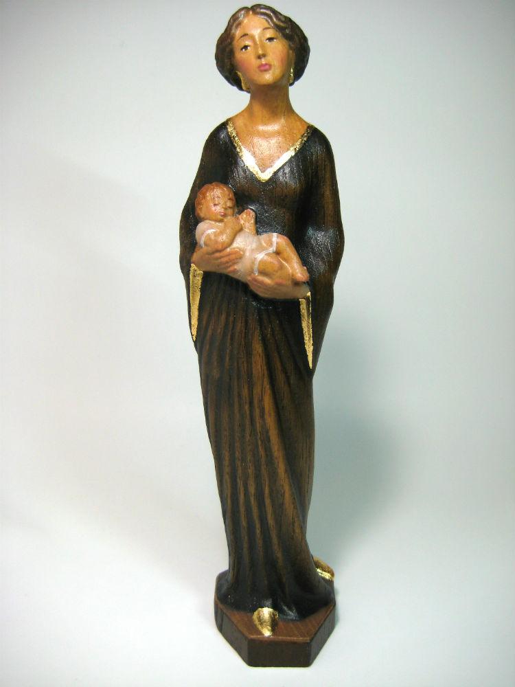 《レーピ》欧州教会使用創業100 年木彫りブランド木彫り聖母マリア像 聖母子像「リバティースタイル」カラー(手彩色)高さ 30cm 保証書付【イタリア】