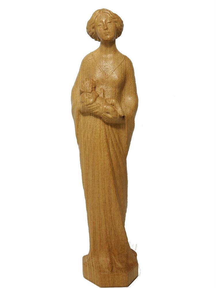 《レーピ》欧州教会使用創業100 年木彫りブランド木彫り聖母マリア像 聖母子像「リバティースタイル」ニス仕上げ高さ 36 cm 保証書付【イタリア】