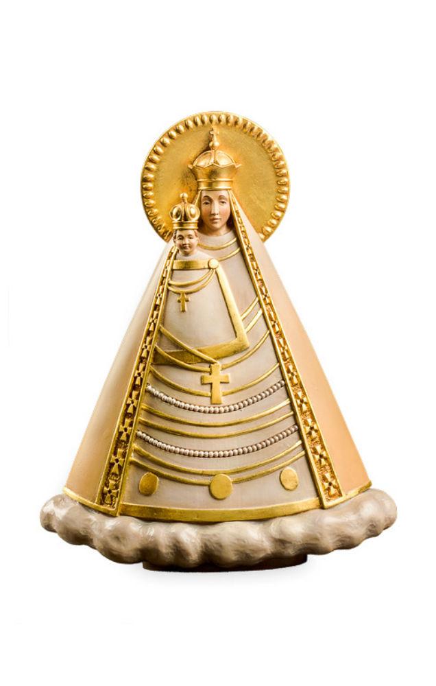 《レーピ》欧州教会使用創業100年木彫りブランド木彫り 聖母マリア像「マグナマーテル・オーストリア」母子像カラー仕上げ(手彩色)高さ 17.5cm 保証書付【イタリア】
