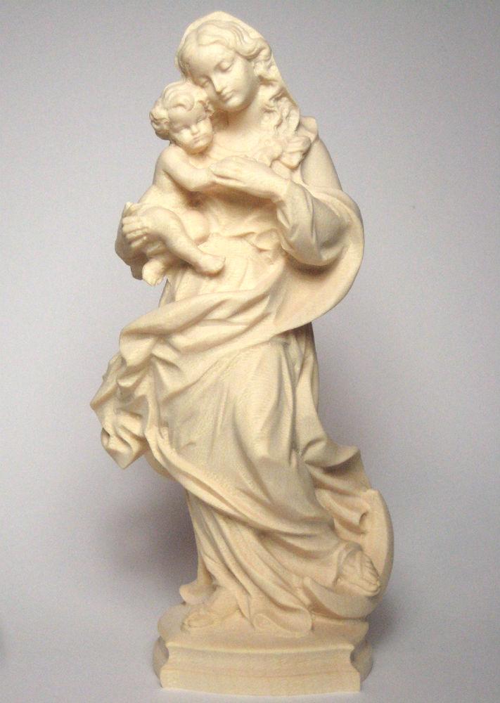 《レーピ》欧州教会使用創業100年 木彫りブランド木彫り 聖母マリア像「レーゲンスブルク」聖母子像 白木仕上げ 高さ 15cm保証書付【イタリア】