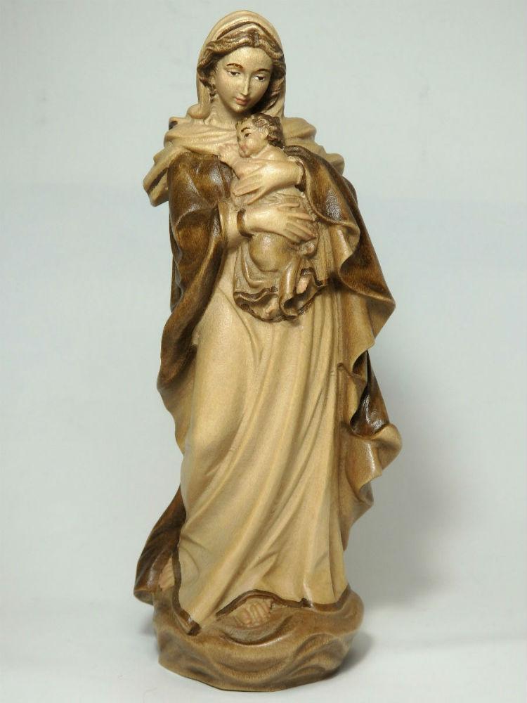 《レーピ》欧州教会使用創業100年木彫りブランド木彫り 聖母マリア像「ルネサンス」聖母子像ブラウン・濃淡2色(手彩色)高さ15cm 保証書付【イタリア】