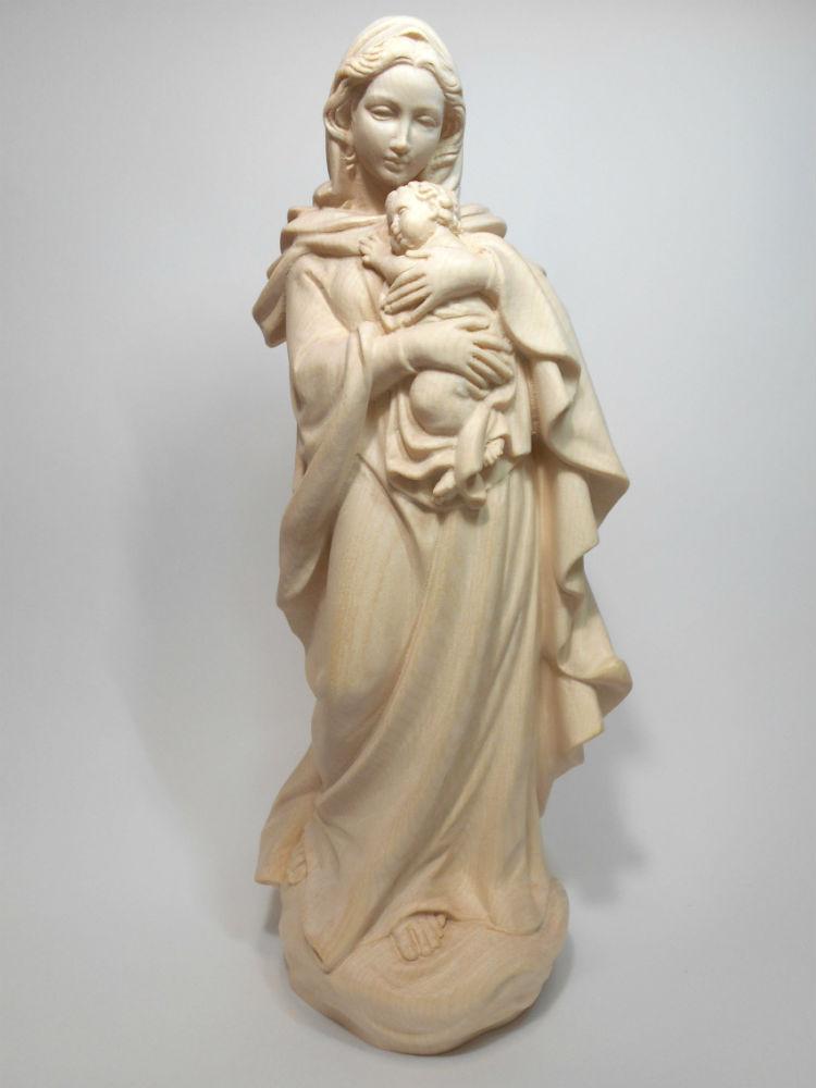 《レーピ》欧州教会使用創業100年木彫りブランド木彫り 聖母マリア像「 ルネサンス 」聖母子像 白木仕上げ 高さ 36cm 保証書付【イタリア】