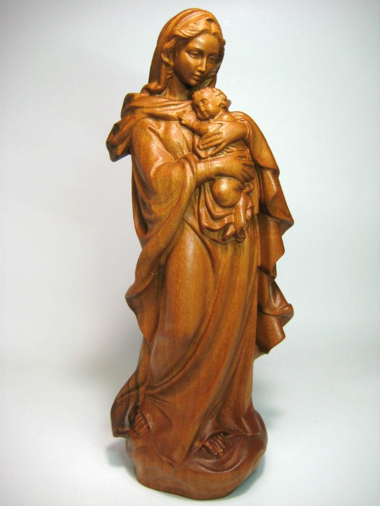 《レーピ》欧州教会使用創業100年木彫りブランド木彫り 聖母マリア像「ルネサンス」聖母子像 レッドブラウン(暗褐色) 高さ20cm 保証書付【イタリア】
