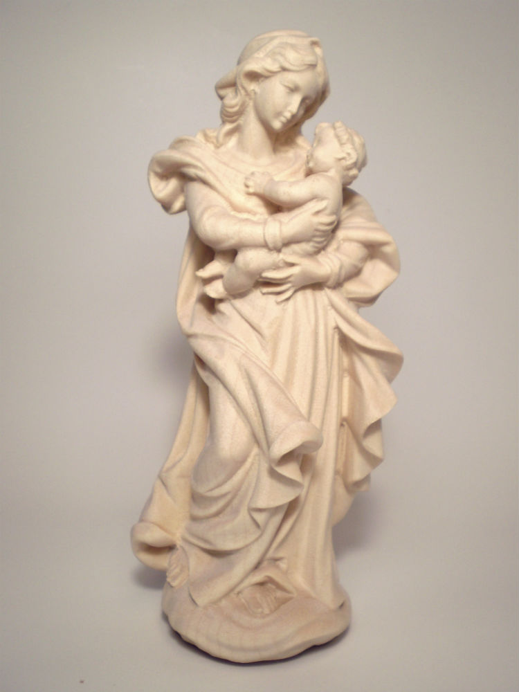 《レーピ》欧州教会使用創業100年 木彫りブランド木彫り 聖母マリア像「ザルツブルク」聖母子像 白木仕上げ 高さ 15cm 保証書付【イタリア】