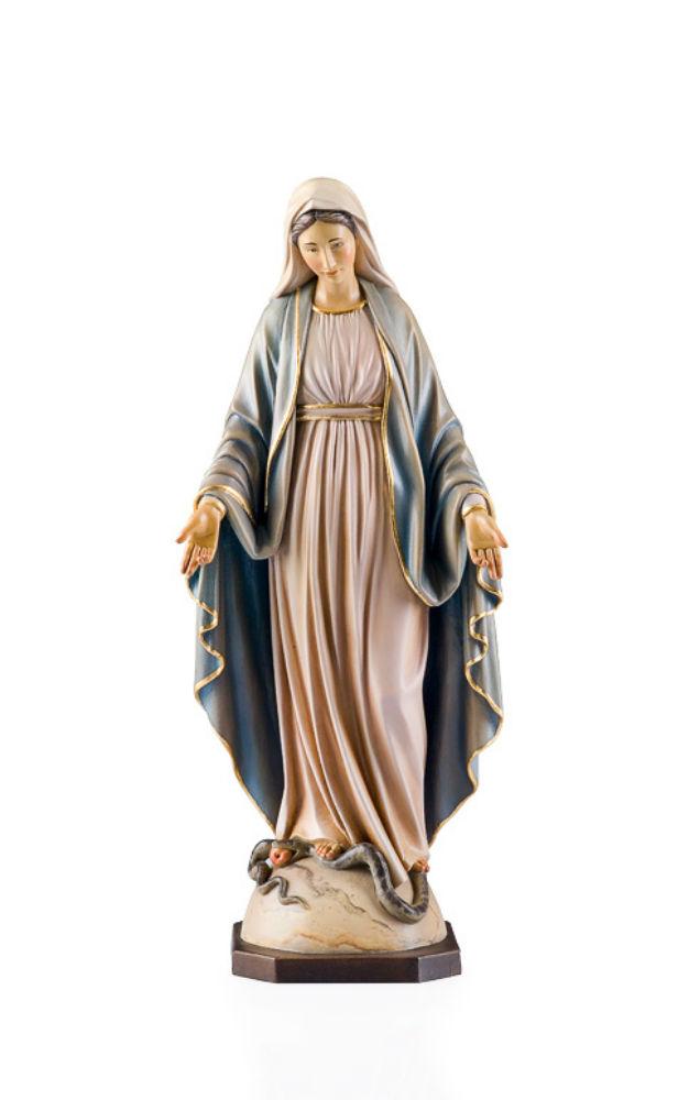 《レーピ》欧州教会使用創業100年 木彫りブランド木彫り 聖母マリア像「 無原罪 」カラー仕上げ(手彩色)高さ 60cm 保証書付【イタリア】