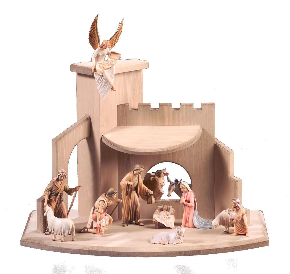 《レーピ》欧州教会使用創業100年木彫りブランド木彫り クリスマス人形キリスト降誕セット(プレゼピオ)『 ヴェネチアン 』シリーズ人形:10cm 12体 カラー仕上げ(手彩色) 台小屋付き【イタリア】