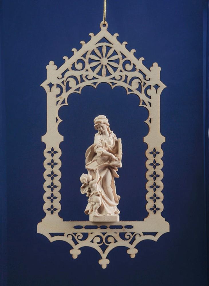 安心と信頼 おすすめ特集 ミニチュア木彫りのマリア像をポプラの板材で飾った ポプラ材 つり飾り ポプラペンダント聖人 聖セシリア です お像は自然木の彫出しの白木仕上げで精巧 《レーピ》欧州教会使用創業100年 聖チェチリア 白木仕上げ高さ16cm 保証書付 木彫りブランド 聖人 お像7cm イタリア ミニ木彫り