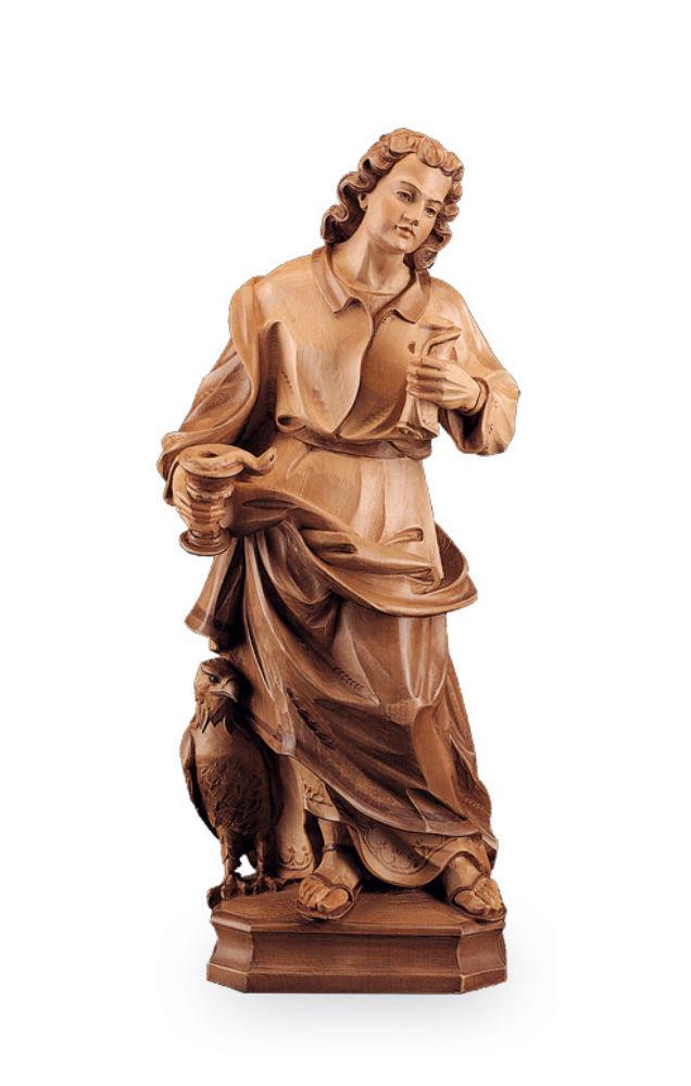 《レーピ》欧州教会使用創業100年 木彫りブランド木彫り 諸聖人像 「セント・ジョン・エヴァンジェリスト」ブラウン(濃淡2色)手彩色高さ 60cm 保証書付【イタリア】