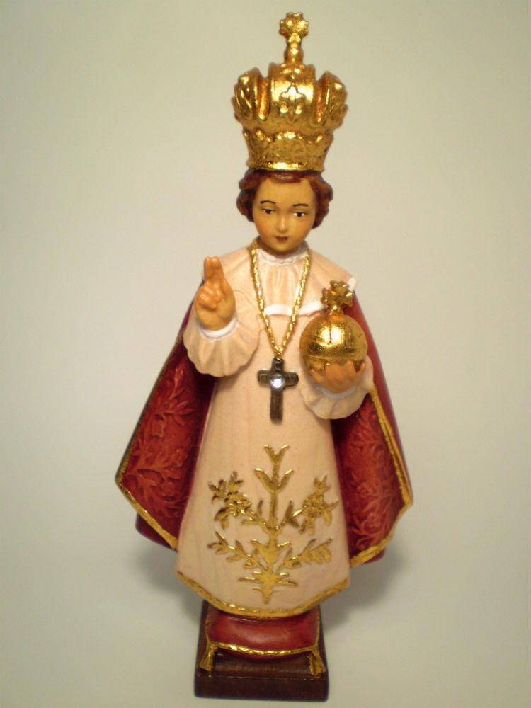 《レーピ》欧州教会使用創業100年 木彫りブランド木彫り イエス キリスト像 「 プラハの幼子 」カラー仕上げ(手彩色)高さ 15cm 保証書付【イタリア】