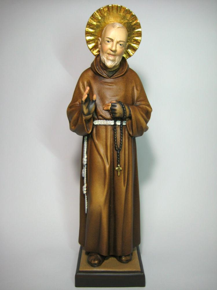 《レーピ》欧州教会使用創業100年 木彫りブランド木彫り 諸聖人像 「 ピオ神父 」カラー仕上げ(手彩色)高さ 36cm 保証書付【イタリア】