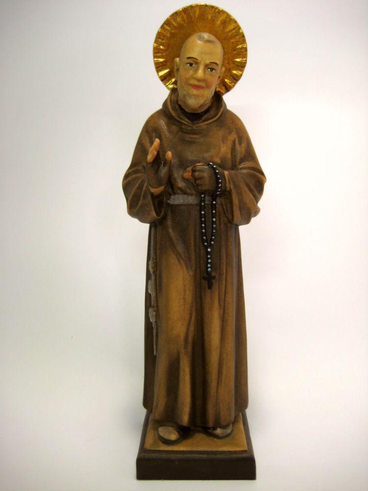 《レーピ》欧州教会使用創業100年 木彫りブランド木彫り 諸聖人像 「 ピオ神父 」カラー仕上げ(手彩色)高さ 15cm 保証書付【イタリア】