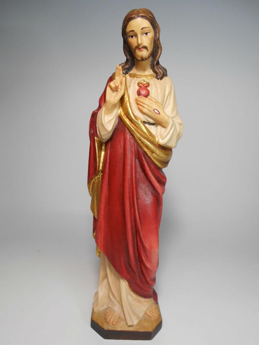 《レーピ》欧州教会使用創業100年 木彫りブランド木彫り イエス キリスト像 「セイクリッド・ハート」(聖心)カラー仕上げ(手彩色)高さ 20cm 保証書付【イタリア】