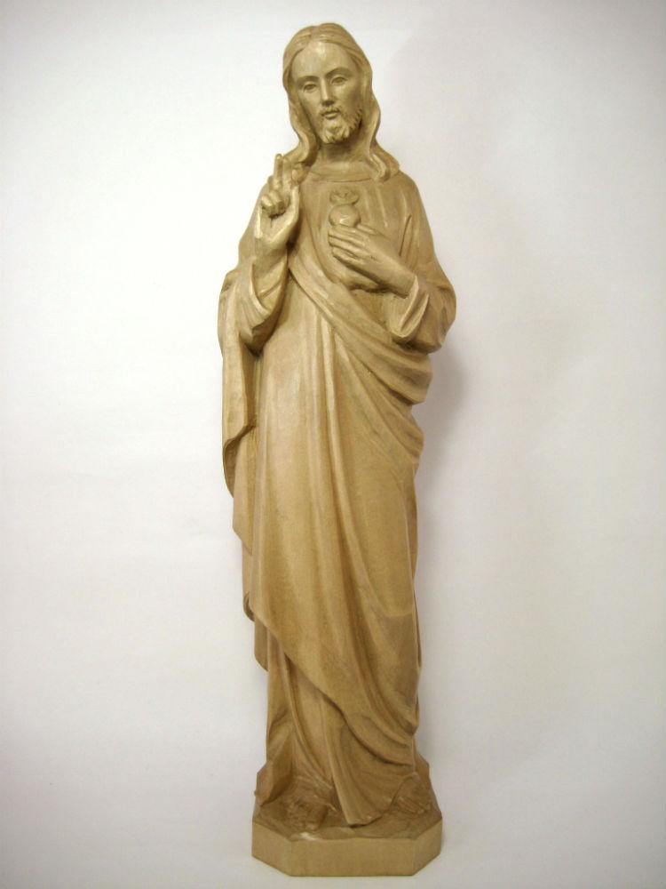 《レーピ》欧州教会使用創業100年 木彫りブランド木彫り イエス キリスト像 「セイクリッド・ハート」(聖心)ニス仕上げ 高さ 40cm保証書付【イタリア】