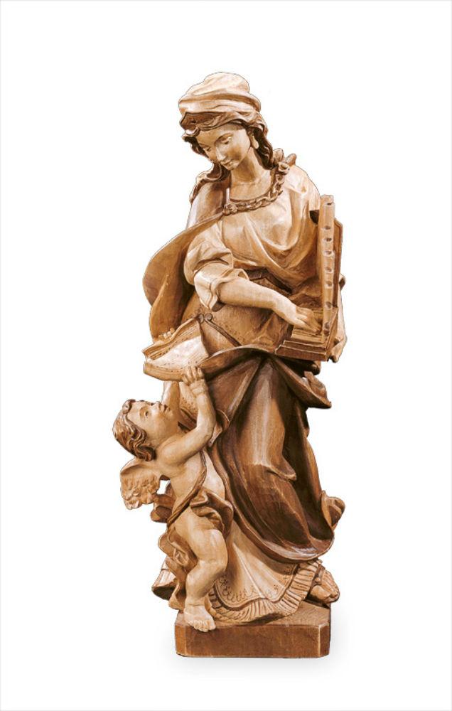 《レーピ》欧州教会使用創業100年木彫りブランド木彫り 聖人「聖セシリア」「聖チェチリア」ブラウン(濃淡2色)手彩色高さ 60cm 保証書付【イタリア】