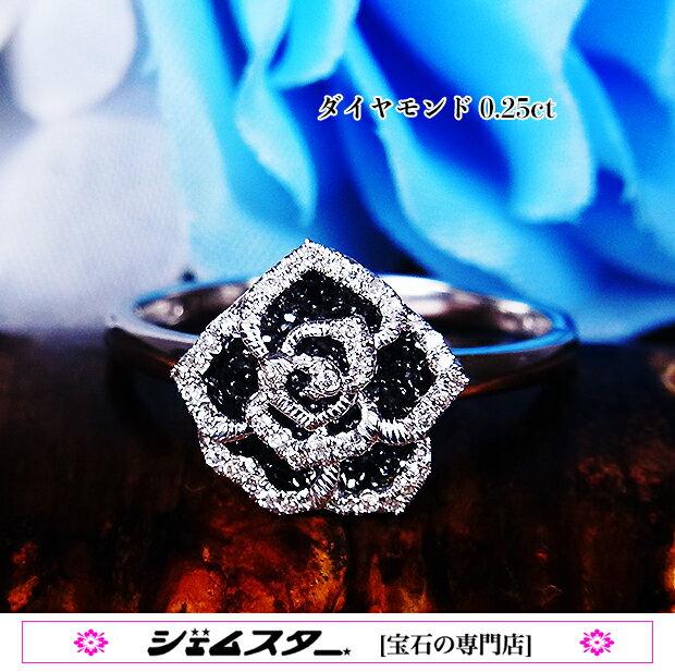 魅惑のスパイス♪黒薔薇!ブラックダイヤxホワイトゴールド!K18WGダイヤモンド0.25ctリング!《受注生産》