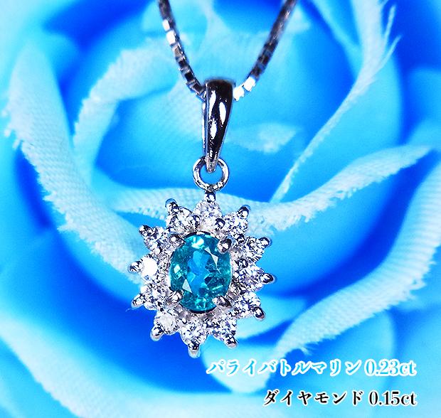 有名なブランド 強い青のネオン発色キラキラ!希少☆ブラジル産!鮮やかに咲き誇る幸せの青い花!Ptパライバトルマリン0.23ct(D0.15ct)ネックレス!, trip:54683f42 --- mediakaand.com