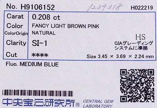 FancyLightBrownPinkSI-1!Pt/K18PGピンクダイヤモンド0.208ct&0.09ct(D0.11ct)ネックレス!【中宝研ソーティング付】