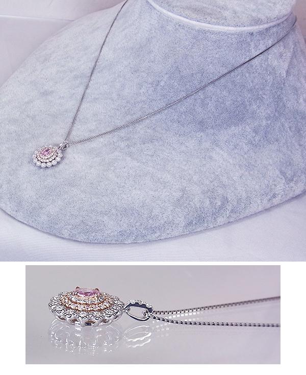 FancyPurplePinkI-1!Pt/K18PGピンクダイヤモンド0.29ct&0.23ct(D0.28ct)ネックレス!【GIA鑑定書付】