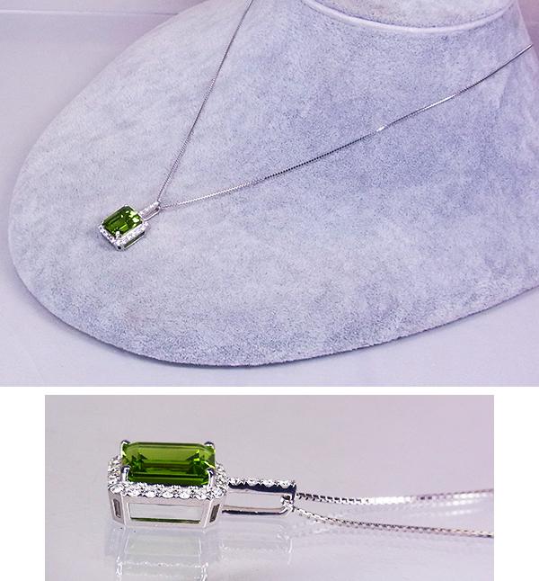 艶やか濃厚オリーブグリーン、5ct超え!貫禄の大粒ペリドット!K18WGペリドット5.10ct(D0.34ct)ネックレス!