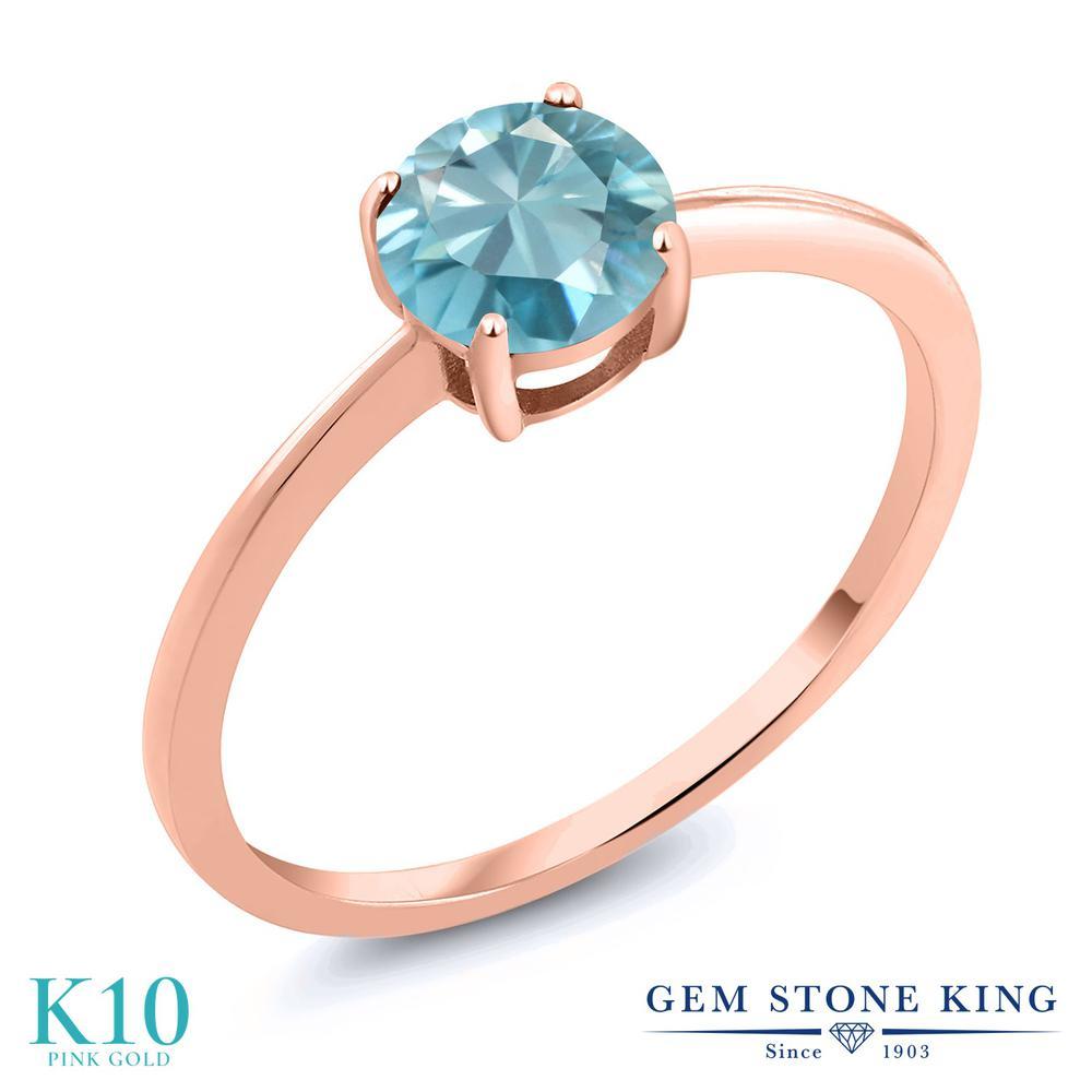 Gem Stone King 1.2カラット 天然石 ブルージルコン 10金 ピンクゴールド(K10) 指輪 リング レディース 大粒 一粒 シンプル ソリティア 天然石 12月 誕生石 金属アレルギー対応 婚約指輪 エンゲージリング