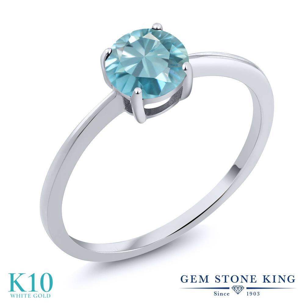 Gem Stone King 1.2カラット 天然石 ブルージルコン 10金 ホワイトゴールド(K10) 指輪 リング レディース 大粒 一粒 シンプル ソリティア 天然石 12月 誕生石 金属アレルギー対応 婚約指輪 エンゲージリング