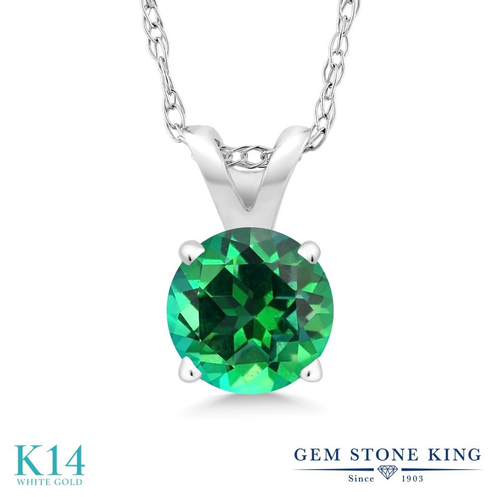 Gem Stone King 0.65カラット 天然石 トパーズ レインフォレスト (スワロフスキー 天然石シリーズ) 14金 ホワイトゴールド(K14) ネックレス ペンダント レディース 一粒 シンプル 天然石 金属アレルギー対応 誕生日プレゼント